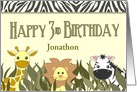 Happy 3rd Birthday Cute Cartoon Jungle Animals Custom Name card