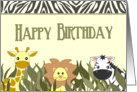 Cute Jungle Animals Happy Birthday Card