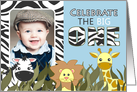 Cute Jungle Themed First Birthday Party Blue Photo Invitations card