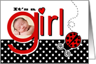 Cute Red Ladybug Baby Girl Photo Birth Announcement card