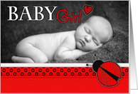 Baby Girl Little Ladybug Photo Birth Announcement card