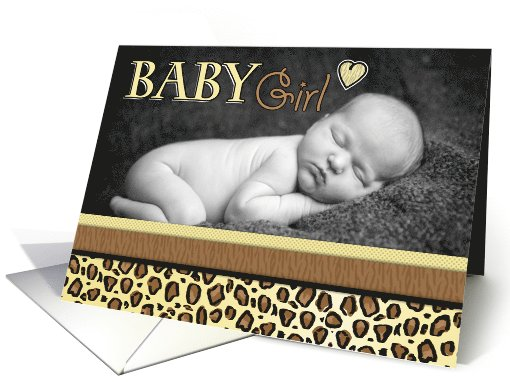 Baby Girl Leopard Print Photo Birth Announcement card (1069567)
