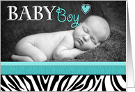 Baby Boy Blue Zebra Print Photo Birth Announcement card