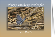 Happy Birthday Wishes for an Uncle, Blue Butterfly card