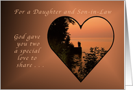 For a Daughter and Son in Law, Anniversary, Heart at Romantic Sunset card