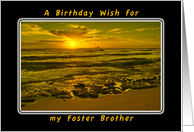 A Birthday Wish For My Foster Brother, Tropical Beach Sunrise card