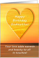 Happy Birthday Godmother, Sunset and Heart card