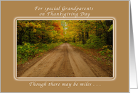 Happy Thanksgiving Day for special Grandparents, Autumn Road card
