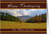 Happy Thanksgiving, for Mom and Dad, Approaching Holidays card