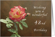 Wishing You a Wonderful 42nd Birthday, Red and Yellow Thornridge Rose card