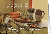 Happy Thanksgiving, Great Grandmother, Parents, Old Fashioned Kitchen card