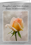 Happy 21st Anniversary, For Daughter and Son-in-Law, Fresh Rose card