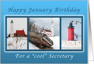 Happy January Birthday for a Cool Secretary, Lighthouses in Winter card