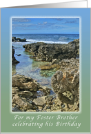 For a Foster Brother, Celebrating His Birthday Hawaiian Coastline card