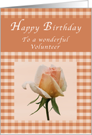 Happy Birthday to a Wonderful Volunteer, Peach rose Gingham card