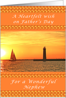 Happy Father's Day for a Nephew, Sunset with Lighthouse card