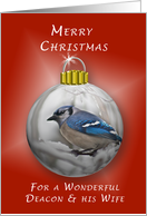 Merry Christmas for a Wonderful Deacon & His Wife, Bluejay Ornament card