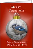 Merry Christmas, For a Wonderful Deacon and his Wife, Bluejay Ornament card