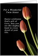God's Gift of Love Easter for a Twin Sister, Tulips card