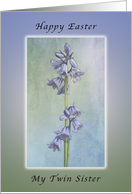 Happy Easter for My Twin Sister, Purple Hyacinth Flowers card