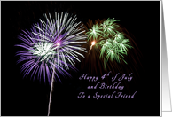 Happy 4th of July and Birthday for a friend, Firework card