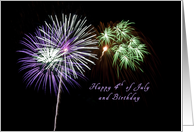 Happy 4th of July and Birthday , Firework card