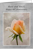 Aunt & Uncle, Happy 40th Anniversary, Rose Textured Background card