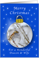 Season's Greetings for a Deacon and Wife, Sparrow Ornament card