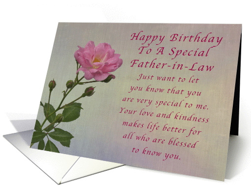 Happy Birthday Father In Law Simple Pink Rose Card 1294628