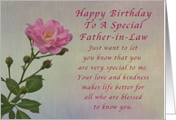 Happy Birthday Father In Law Simple Pink Rose Card
