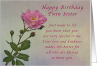 happy birthday twin sister simple pink rose card