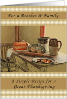 Happy Thanksgiving, For a Brother & Family, Recipe of Thanksgiving card