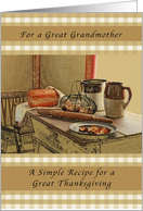 Happy Thanksgiving, Great Grandmother, Recipe of Thanksgiving card