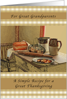 Happy Thanksgiving, Great Grandparents, Recipe of Thanksgiving card