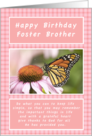 Happy Birthday, for a Foster Brother, Monarch Butterfly card