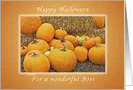Happy Halloween for a Boss, Pumpkins and Straw card