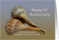 Happy 6th Anniversary Daughter and Son in Law, Seashells card