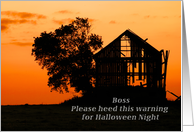 Happy Halloween for a Boss, Silhouetted Barn and Tree card