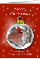 Season's Greeting Cardinal Ornament for a Deacon & His Wife card