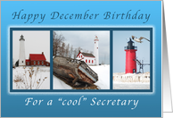 Happy December Birthday for a Cool Secretary, Lighthouses card