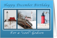 Happy December Birthday for a Cool Godson, Lighthouses card