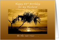 65th Birthday For My Husband As The Sun Rises Palm Tree Card
