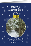 Merry Christmas, Daughter & Family, Far Away, Winter Ornament card