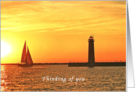 Thinking of you, Sunset, Romantic, Lighthouse, Sailboat card