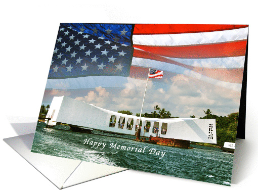 Memorial Day USS Arizona and Flag card (959607)