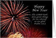 Happy New Year, Fireworks, Psalm 126:3 card