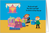 Sweet Happy Hanukkah Children Holding Presents With Menorah card