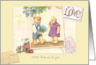 Name Specific Teddy Bears Valentine & Colorful Font, Scrapbook Layout card
