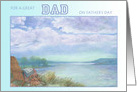 To Dad From Twins, father's day illustrated lake & perfect day card