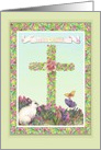 Birthday on Easter illustrated Cross card